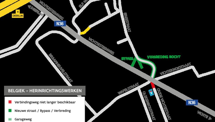 Herinrichting kruispunt N36 Belgiek (Deerlijk)